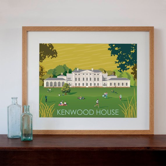 Retro Kitchen Shelves Art Print By Natalie Singh: Kenwood House London Retro Style Art Print