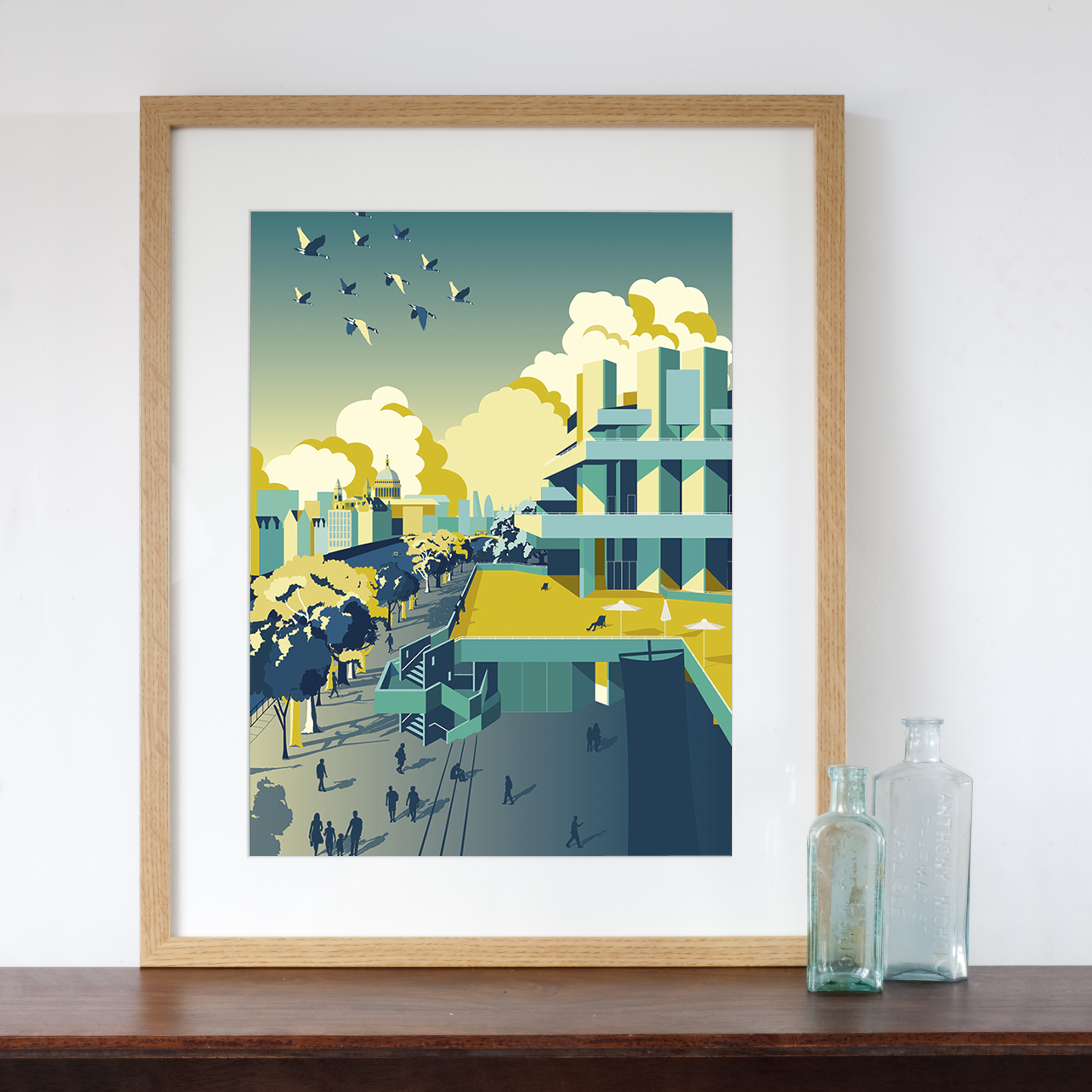 Retro Kitchen Shelves Art Print By Natalie Singh: Waterloo Sunset Art Print With The National Theatre A2